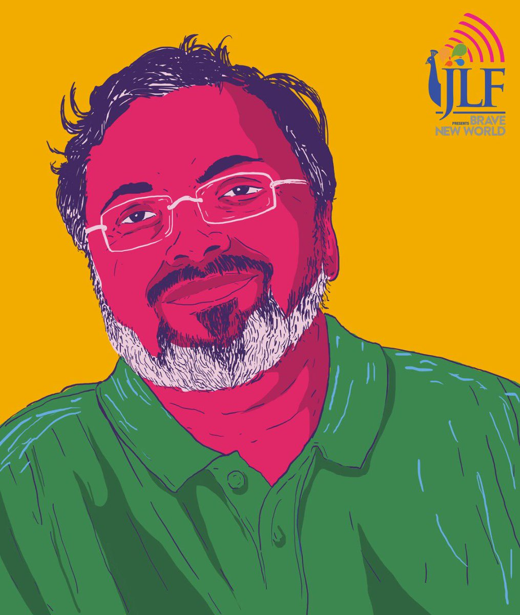 """""""Refusal to accept the flow of the world is the root of all misery."""" ― @devduttmyth, 'Jaya: An Illustrated Retelling of the Mahabharata'   Devdutt Pattanaik will be LIVE on #JLFBraveNewWorld tonight at 7 pm IST! https://t.co/IFipIE0vtE"""