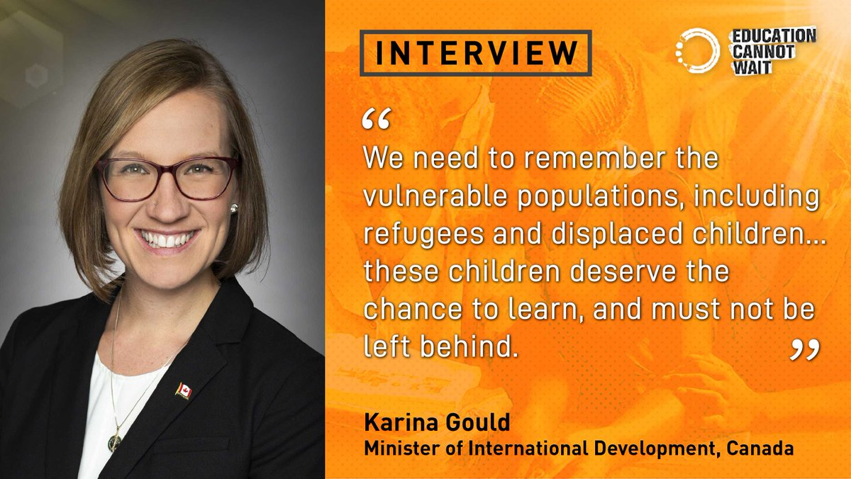 Inspiring & Insightful! Read @EduCannotWaits interview w/Canadas 🍁 Minister of International Development Karina Gould on education for crisis-affected children & youth: educationcannotwait.org/karina-gould-q… Please RT to share globally! @canadadev @canadaun @canadianpm @glblctzncan @un