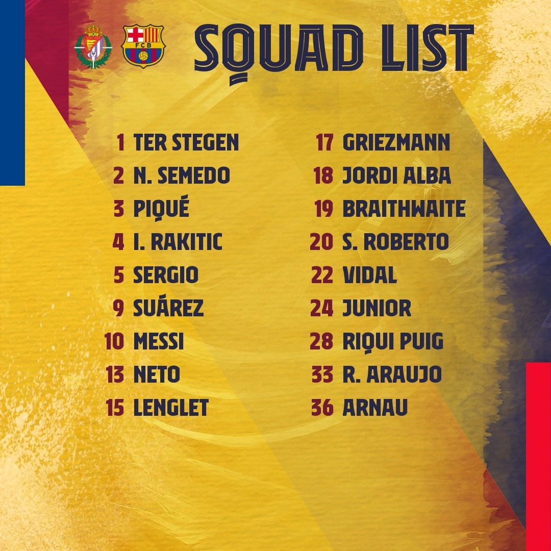 Our squad for #ValladolidBarça! https://t.co/gFFjDasWQ3