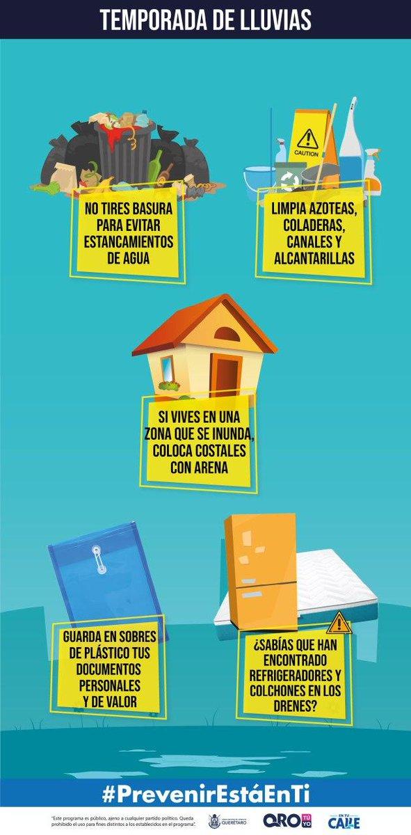 Esta temporada de #LluviaQro limpia azoteas, coladeras, canales y alcantarillas para evitar encharcamientos #PrevenirEstáEnTi #QuerétaroOrgulloDeMX @CAPTA_Qro @pcmqro @PCSJRQ @PCCorregidora1 @pcEzequielMont @peseguridadqro @cpcuaq @gobqro  @SEGOB_Queretaro https://t.co/bH6MwPy5X9