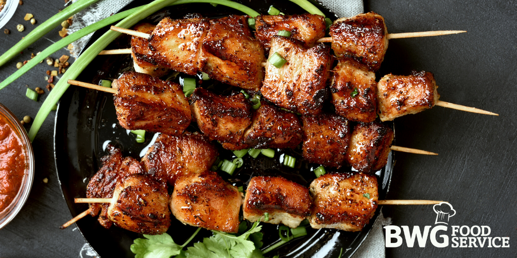 Filipino barbecue is the flavour of the summer! It's flavour is bright, hot and sweet. Try pork skewers marinated in soy, honey, fresh chilli, garlic, banana ketchup or even lemonade! #BWGfoodies #ontrend