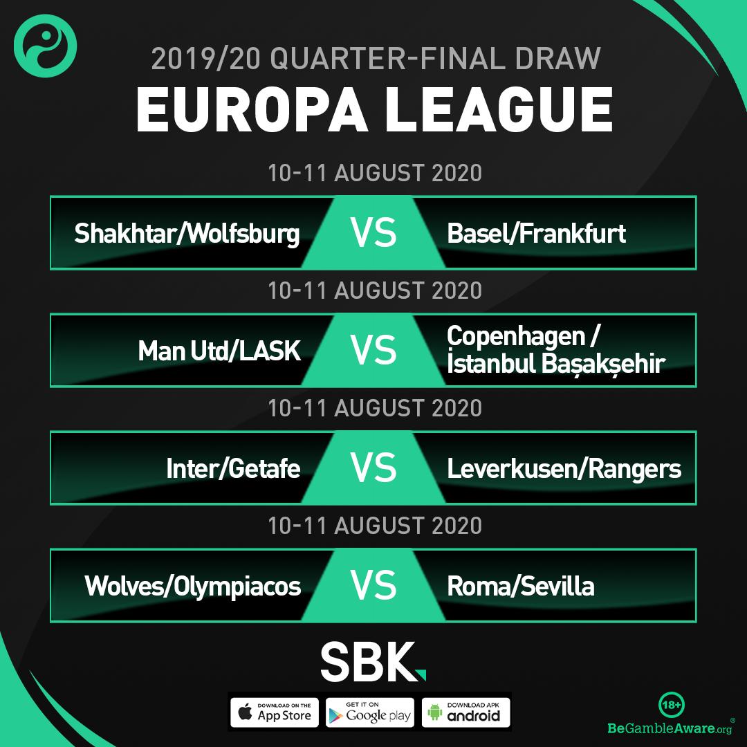OFFICIAL: The 2019/20 Europa League quarter-final draw.  #UELDraw (@sbk) https://t.co/nnUNulUCVh