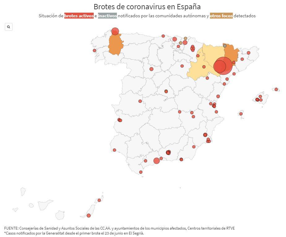 Este es el mapa de los brotes de coronavirus en España: 73 focos continúan activos https://t.co/aIWexGkkux https://t.co/ZMh6r45HgG
