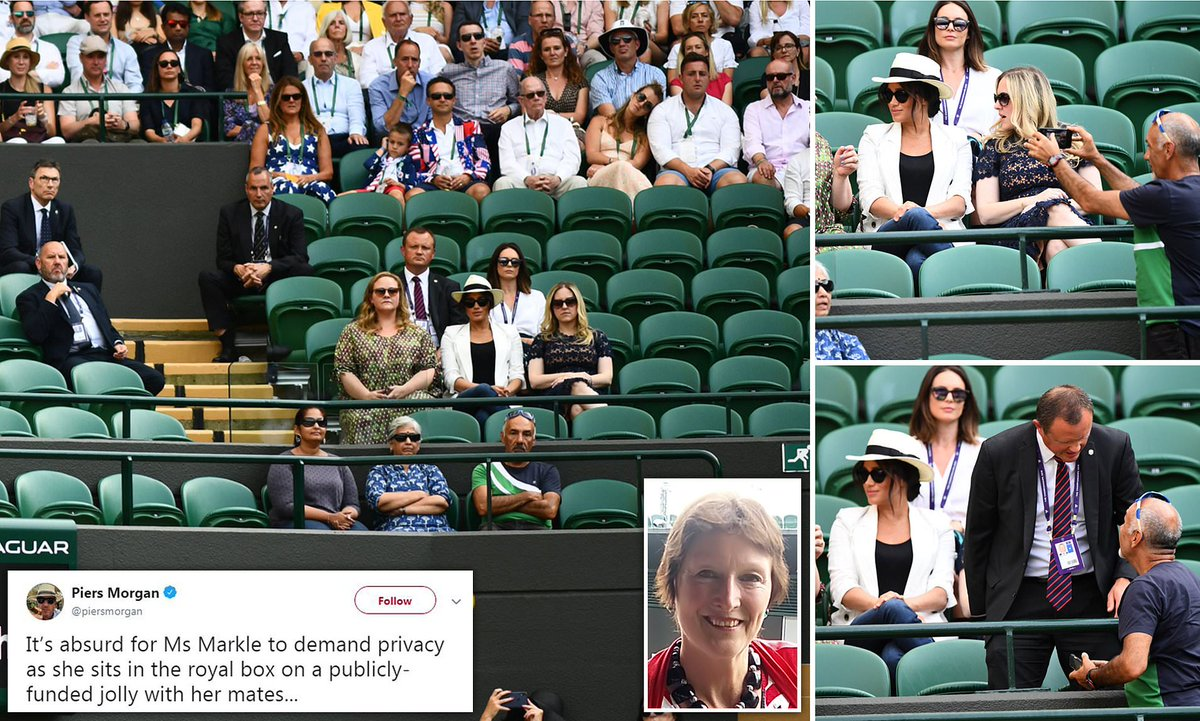 So Meghan is now preaching from her soap box about the importance of equality when she said last week, 'no one should be put on the backfoot.' Remember Wimbledon last year when the seats had to be cleared around her. She did not want the 'great unwashed' sitting alongside her as <br>http://pic.twitter.com/X2GCL1dTSq