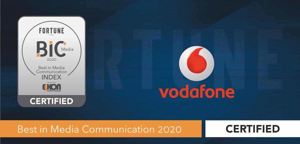 .@VodafoneIT è Best in Media Communication secondo il nuovo index #BIC20 lanciato da @EikonSC e @fortuneitalia. Assegnato anche il #premiospeciale per la strategia di comunicazione del #5G per la visione, la rilevanza e l'impegno per il progresso digitale del Paese. https://t.co/s7KGb0gD6E
