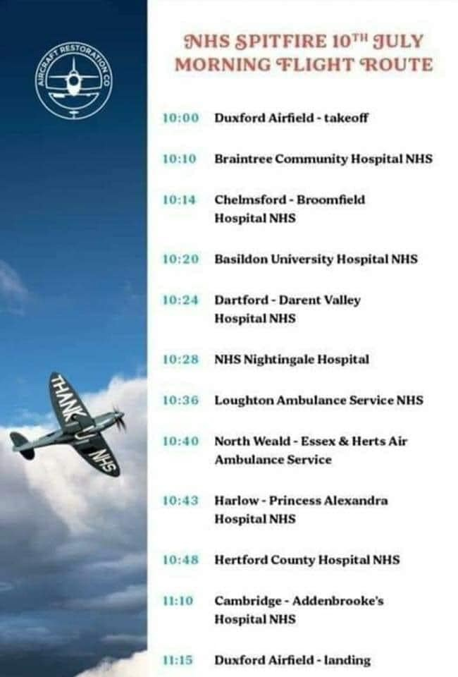 If youre at Braintree Community Hospital, Broomfield Hospital or Basildon Hospital this morning take a look to the sky to see the Spitfire flypast ✈️