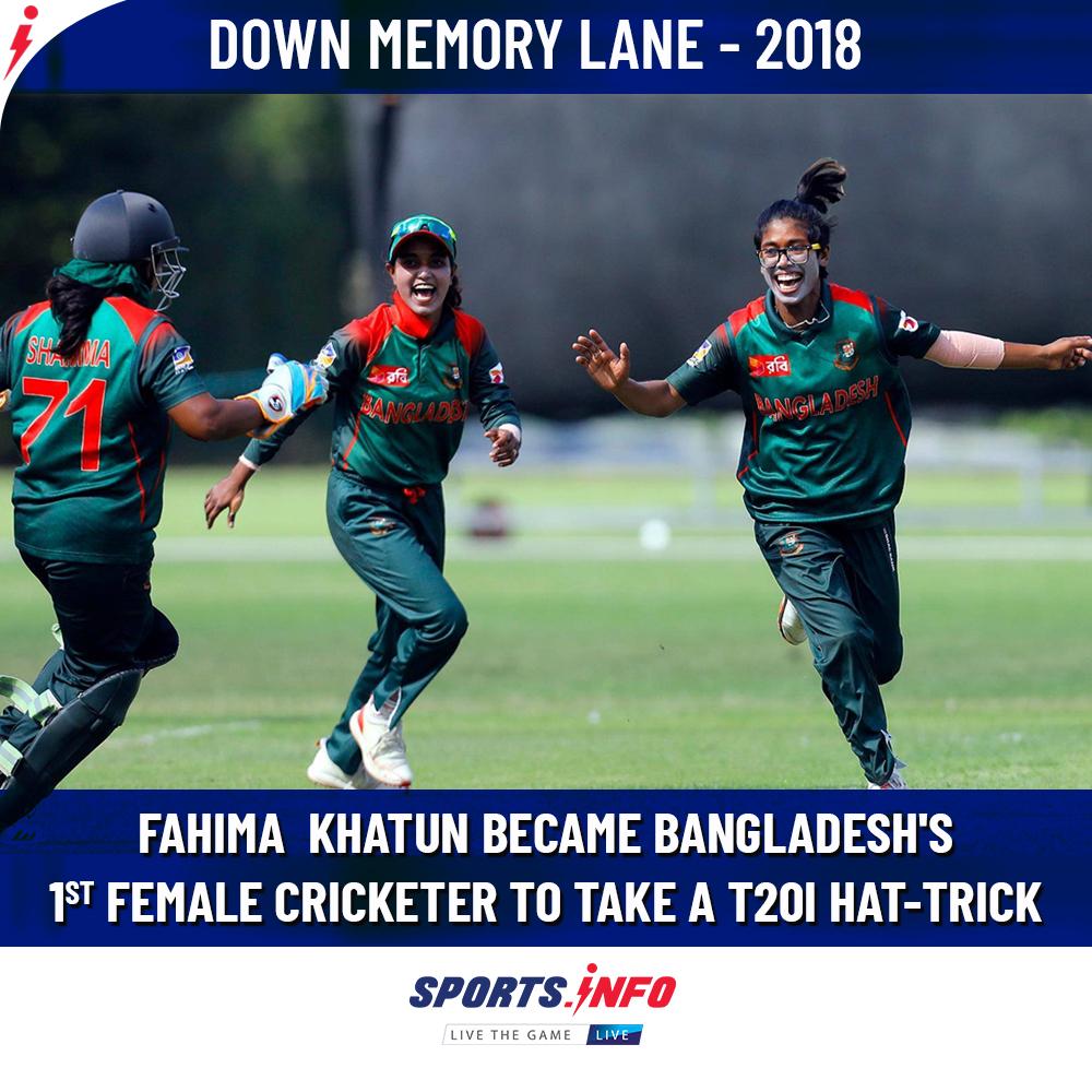 #OnThisDay: Fahima Khatun achieved the record while playing against UAE in 2018 Women's World T20.  . . . #BANvUAE #DownMemoryLane #FahimaKhatun #SportsDotInfo #FlashbackFriday #fridaymorning #FridayThoughts<br>http://pic.twitter.com/cV7V3zn9cO