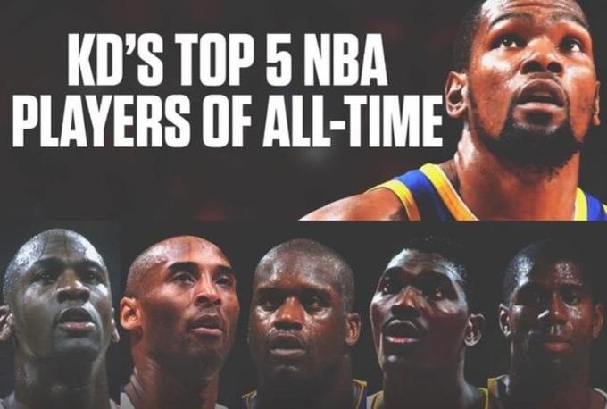 杜蘭特眼中的歷史前五球星:Kobe高居第二,詹姆斯和Jabbar卻不在其中!