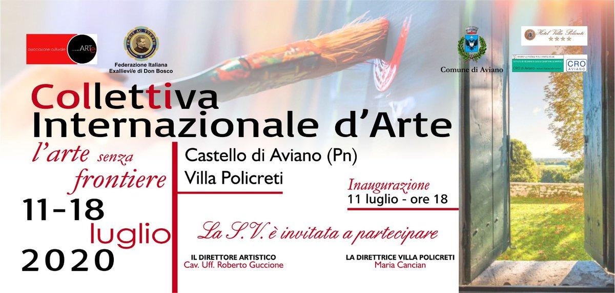 """Collettiva internazionale: """"L'arte senza frontiere"""" al Castello di Aviano. Inaugurazione sabato 11 luglio 2020 ore 18. #arte #artecontemporanea #arteitaliana #collettivadarte #governoitaliano #Politica https://twitter.com/ValerioMartora1/status/1281502962997694467/photo/1pic.twitter.com/w7yLAdxRcrpic.twitter.com/zIsTlOtX40"""