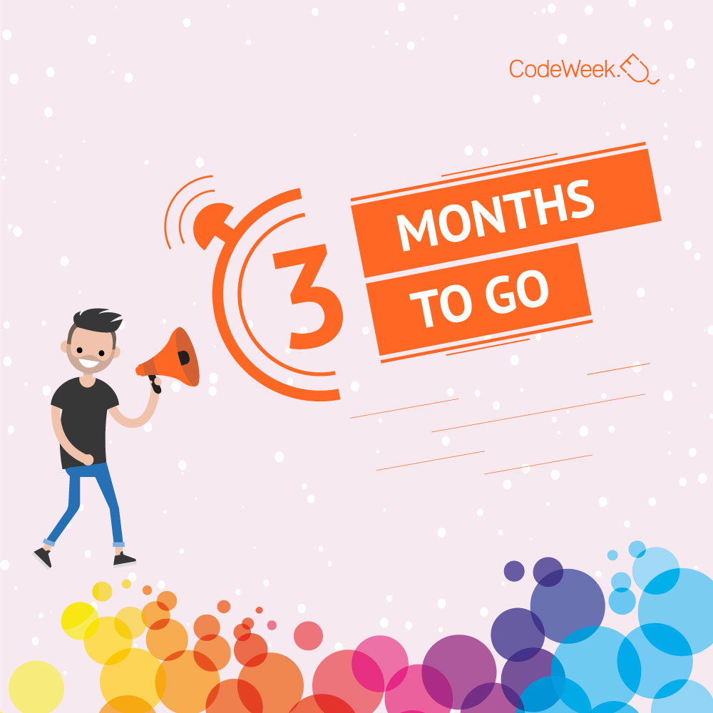 🗓️EU Code Week starts exactly 3⃣ months from today! Don't wait and register your coding activities throughout the whole year. #coding #countdown https://t.co/xUWmnE8ct5