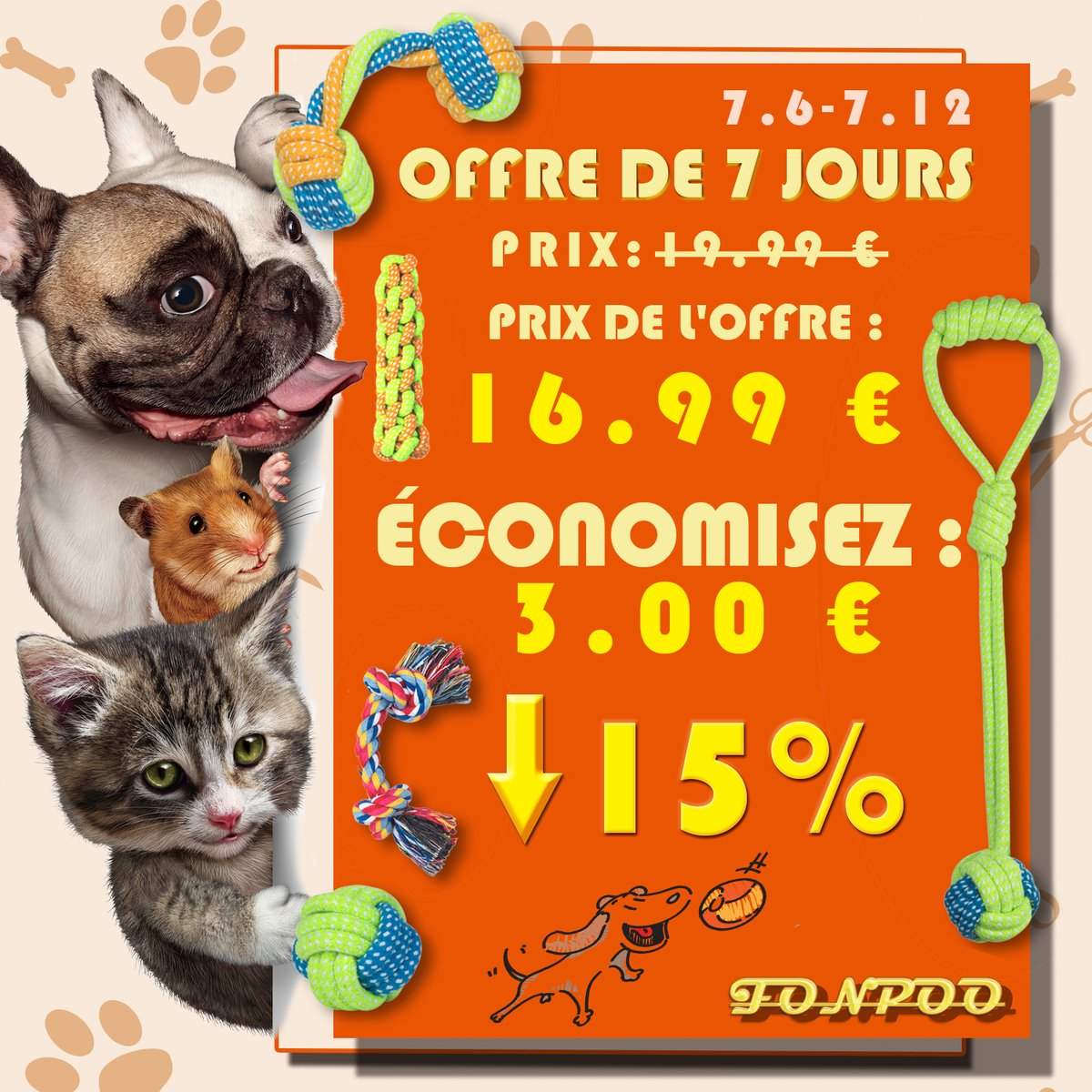 Offre de 7 jours(7.6-7.12) La réduction ne dure que quelques jours, vous pouvez obtenir le même bonheur pour votre chien à un prix inférieur ~ Get it from Amazon:https://amzn.to/2W48CJW  #FONPOO #Amazon #dogtoy #discount #dealpic.twitter.com/ij6DUfAuY1