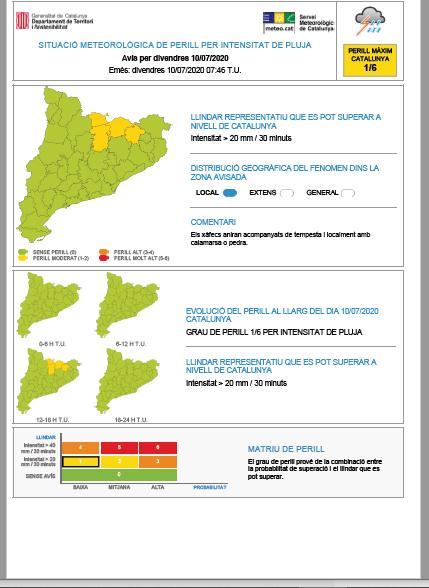 Es manté activat l'avís de situació meteorològica de perill per intensitat de pluja durant la tarda d'avui i la tarda de diumenge amb la possibilitat que es pugui superar els 20 mm en 30 min. a punts del Pirineu i del Prepirineu. https://t.co/1Yh6mZPksu