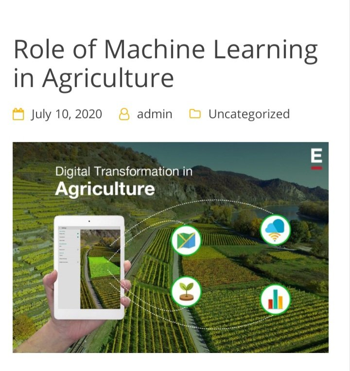 Wrote a blog about Machine learning in agriculture, to read it visit the link. https://proftriumph.com/role-of-machine-learning-in-agriculture/ …  #agriculture #MachineLearning #Technology pic.twitter.com/zuaRnwVvE8