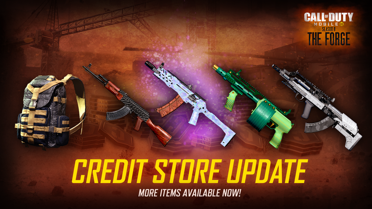 👍 With the new season, comes new items added to the #CODMobile Credit Store!⁣ Available NOW!⁣ ⁣ ✨ RUS-79U - Moonstone ✨⁣ ◾ BK57 - Strapped⁣ ◾ Striker - Riveted Green⁣ ◾ AK-47 - Dark Fiber⁣ ◾ Backpack - Ashen Viper