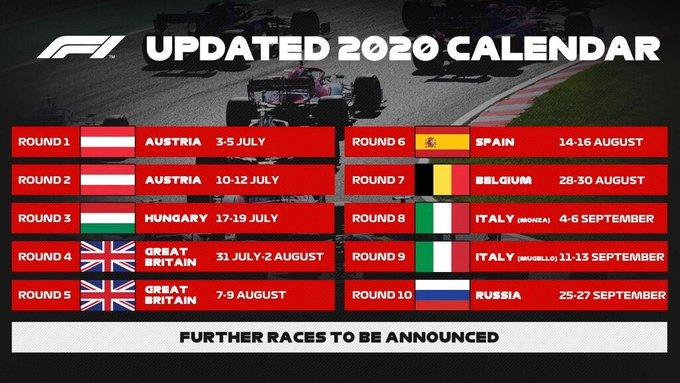 F1 Updated Calendar of 2020 Season