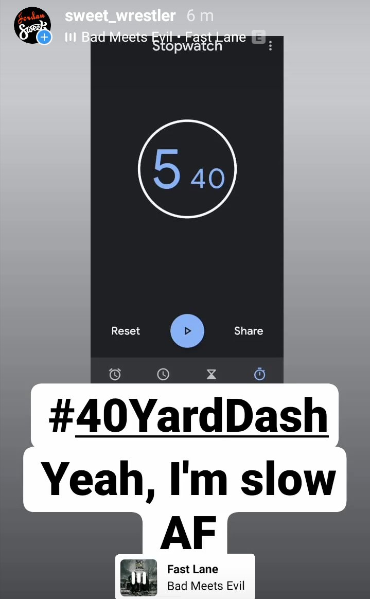 """#40YardDash, yes I know, no need to remind me, I am slow as all hell   (5.08 is the slowest NFL combine tryout dash time, for reference)  Need more work to be """"quicker than a hiccup"""" as Good Ol' JR would say pic.twitter.com/M4zkRVVdDn"""