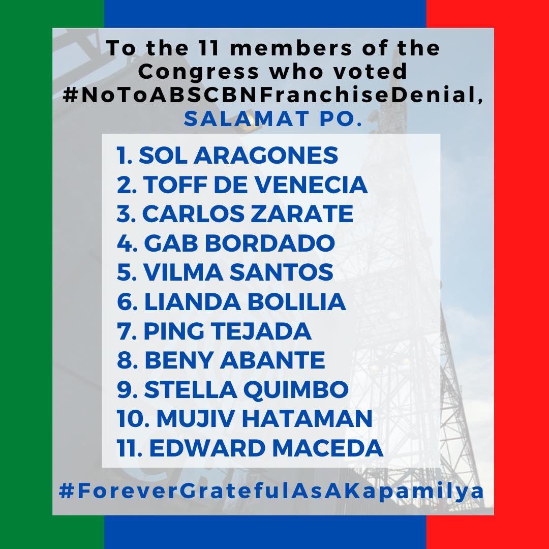 To the Brave 11, we salute you! Salamat po!  #NoToABSCBNFranchiseDenial  #DefendPressFeedom  #ForeverGratefulAsKapamilyapic.twitter.com/IdNzLUMWYa