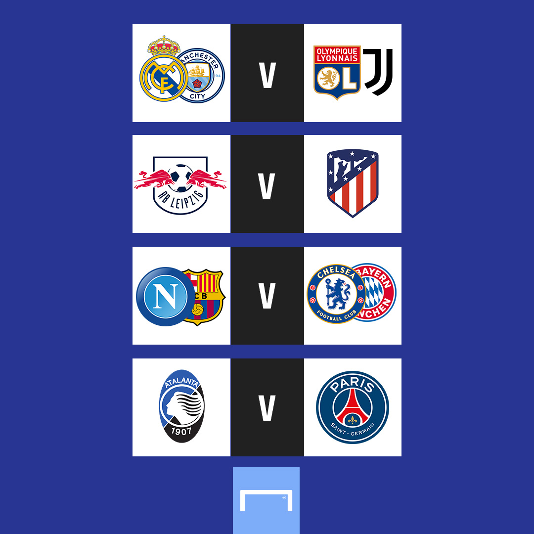 The Champions League is BACK 💥  - 🇪🇸 Real Madrid or Manchester City 🏴 vs 🇫🇷 Lyon orJuventus 🇮🇹  - 🇩🇪 RB Leipzig vs 🇪🇸 Atletico Madrid  - 🇪🇸 Barcelona or Napoli 🇮🇹 vs 🏴 Chelsea or Bayern Munich 🇩🇪  - 🇮🇹 Atalanta vs 🇫🇷 Paris Saint-Germain  The quarter-final draw ☝️  #UCLDraw https://t.co/e12puqn98F