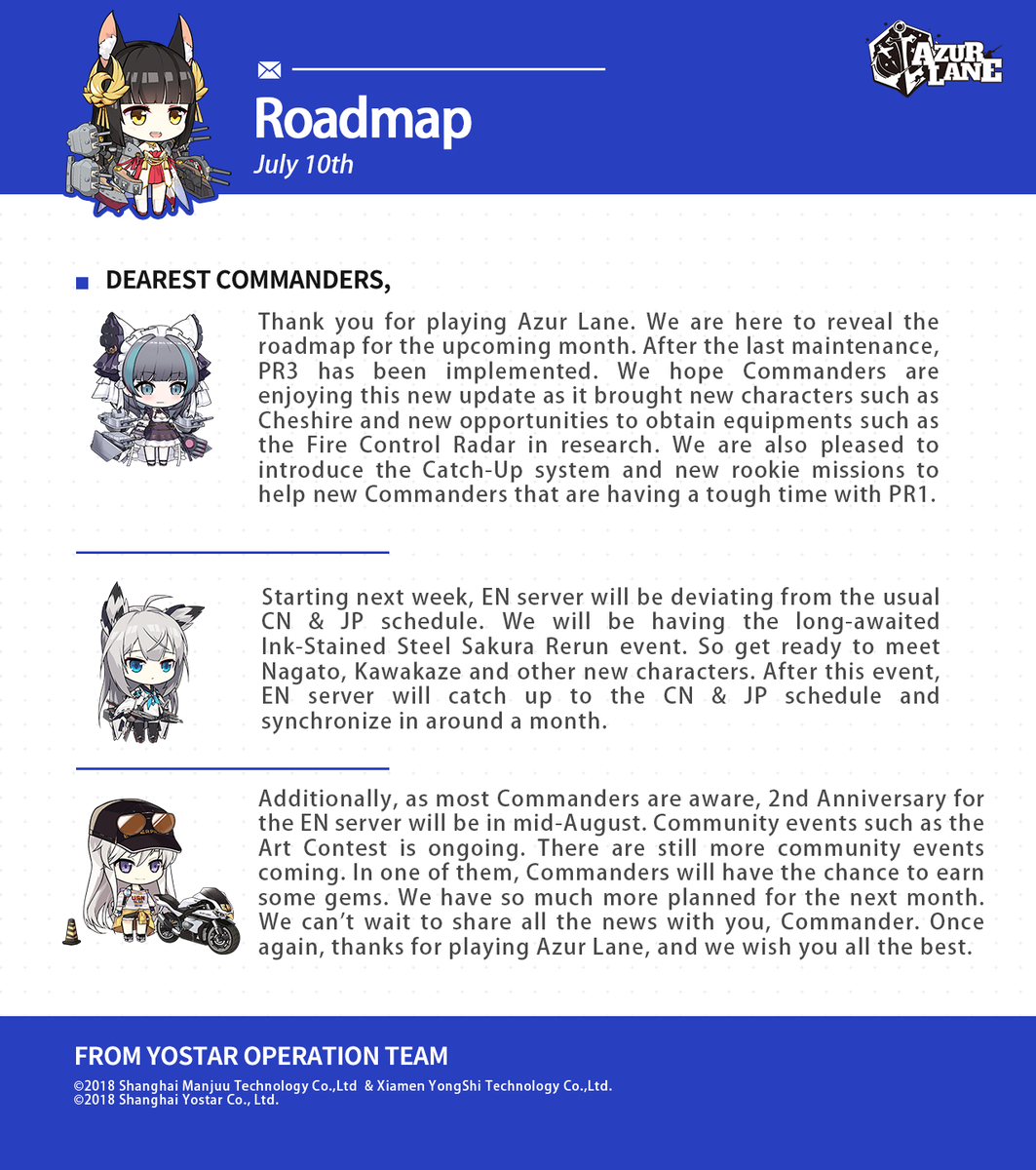 Dear Commanders, Thank you for continuous support of Azur Lane. We would like to express our gratitude and reveal the roadmap for the upcoming month. #AzurLane #Yostar