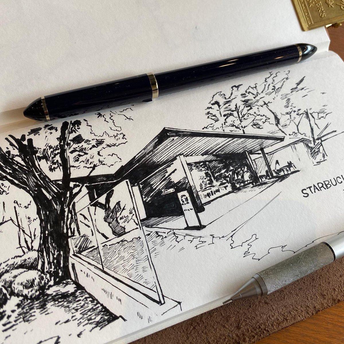 新宿御苑のスターバックスを描きました。  #STARBUCKS #スターバックス #スタバ #新宿御苑 #スケッチ #トラベラーズノート #travelersnote #travelersnotebook #inking  #illustration #illust #illustagram #illustrator #イラスト #イラストレーション #draw #drawingpic.twitter.com/vCLgTc53nB