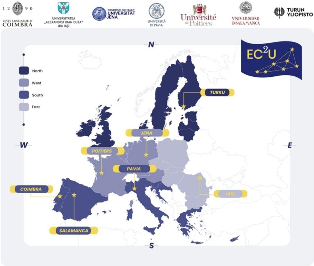 La Universidad de Salamanca ha entrado a formar parte del European Campus of City-Universities (@EC2U_Alliance) junto a las universidades @UAICiasi, @UniJena, @unipv, @UnivPoitiers, @UnivdeCoimbra y @UniTurku. https://t.co/rBEYzh9ftj