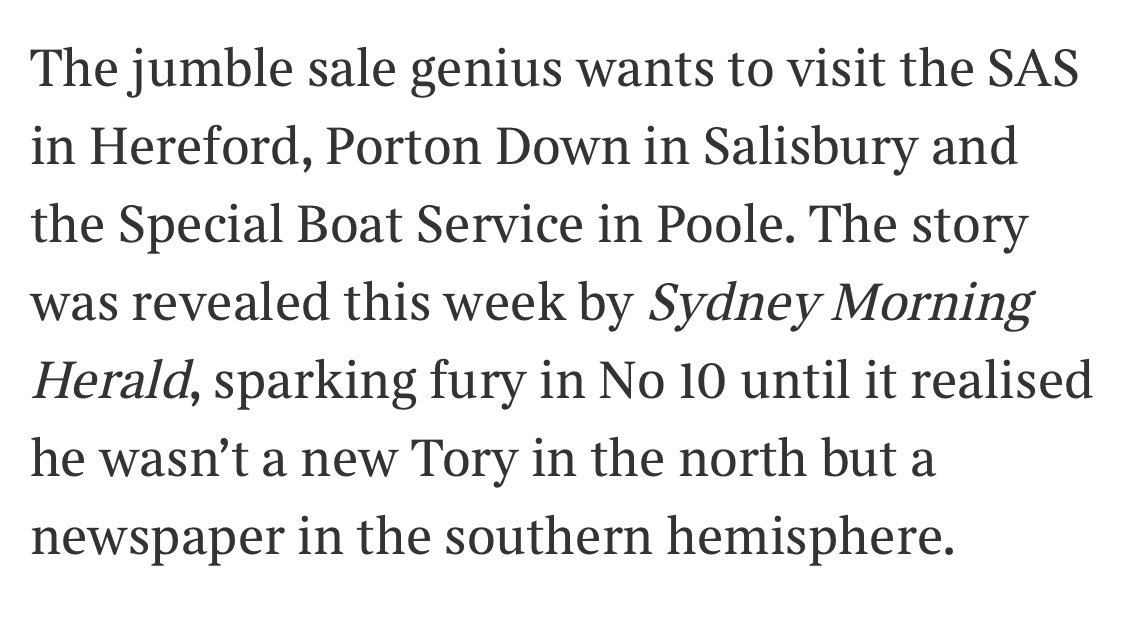 The name's Cummings, Dominic Cummings, driving licence to kill. Yes, the visionless visionary is getting back behind the wheel, this time to tour the country's top secret locations.  Me in @thetimes  https://t.co/L6YUCPtZmm https://t.co/ZTEMeoPCwJ