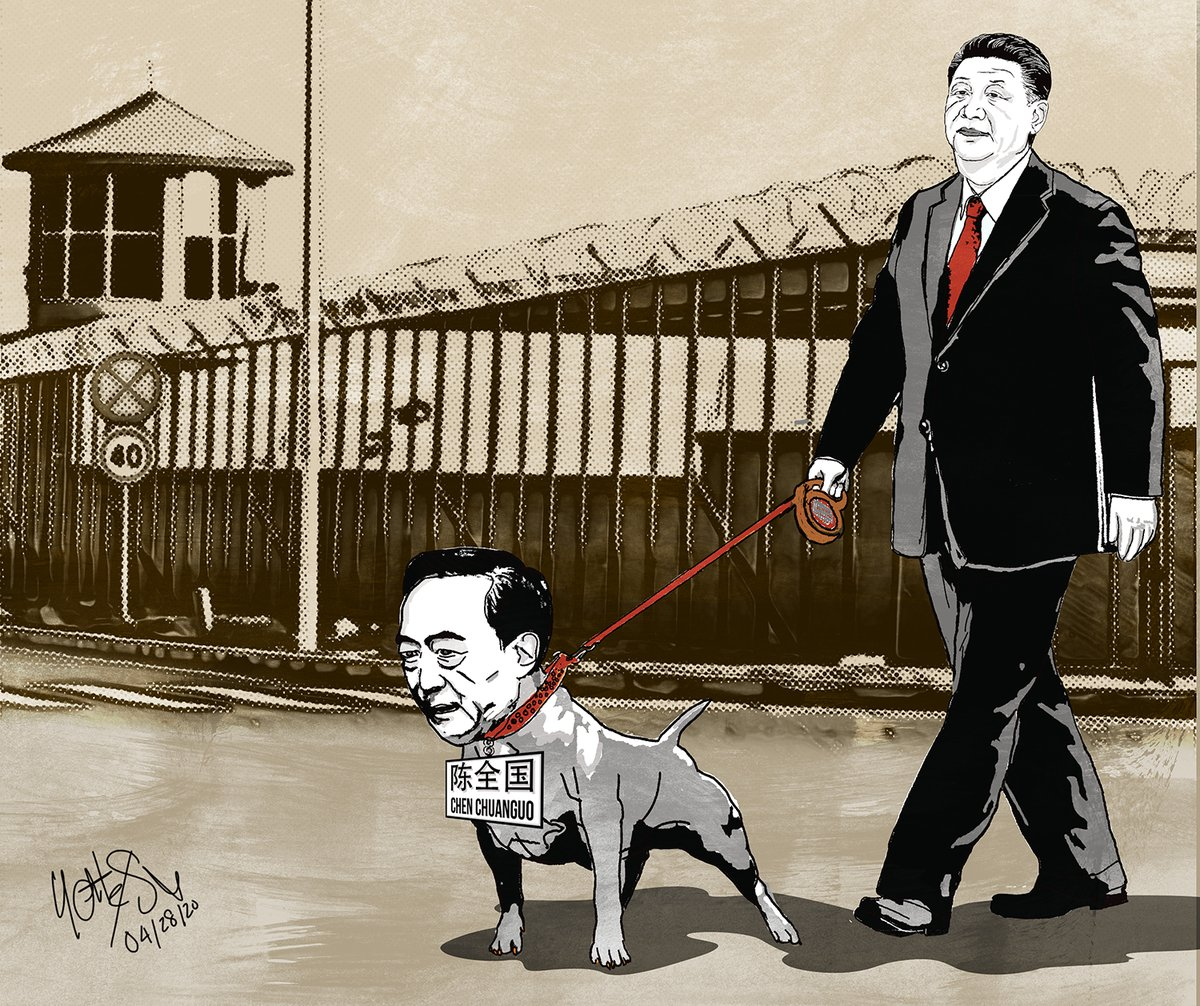 The top responsible person of the crimes against #Uyghurs & inception of the slow-motion #UyghurGenocide is #Xijinping. #ChenQuanguo is just one of #Xi's  b!tches, who has vehemently herded 1.8~3 million Uyghurs into #China's #ConcentrationCamps. #Chinazi #FAC #ACAC #FreeUyghurspic.twitter.com/4vQ5eVir8G