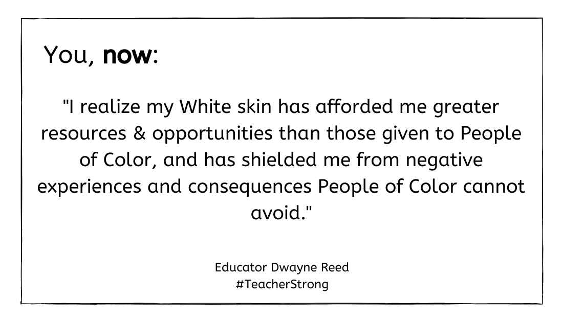 2020 Education Fellow @TeachMrReed welcomes you to a conversation about race and how to continue being #TeacherStrong for yourself, Ss, and peers.   This topic tackles privilege. (2/2) https://t.co/np9lvdZ7FB