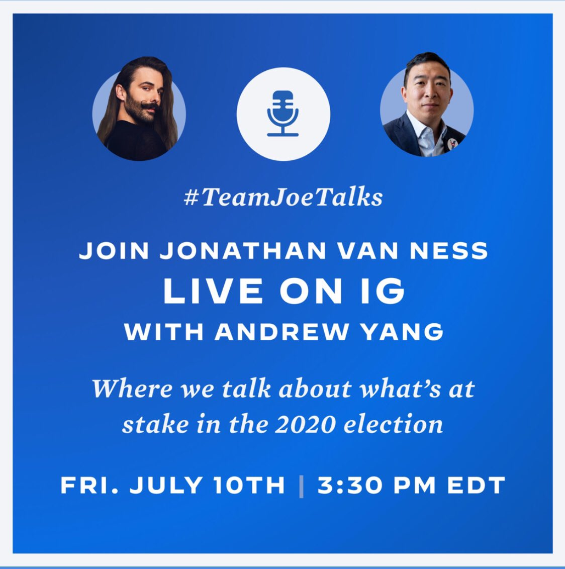 Excited to sit down with @jvn today at 3:30 PM EDT on @instagram live to talk about what is at stake in November. Almost voting time and our country needs better leadership. 👍🇺🇸 @JoeBiden #teamjoetalks https://t.co/uh45oYLgr2