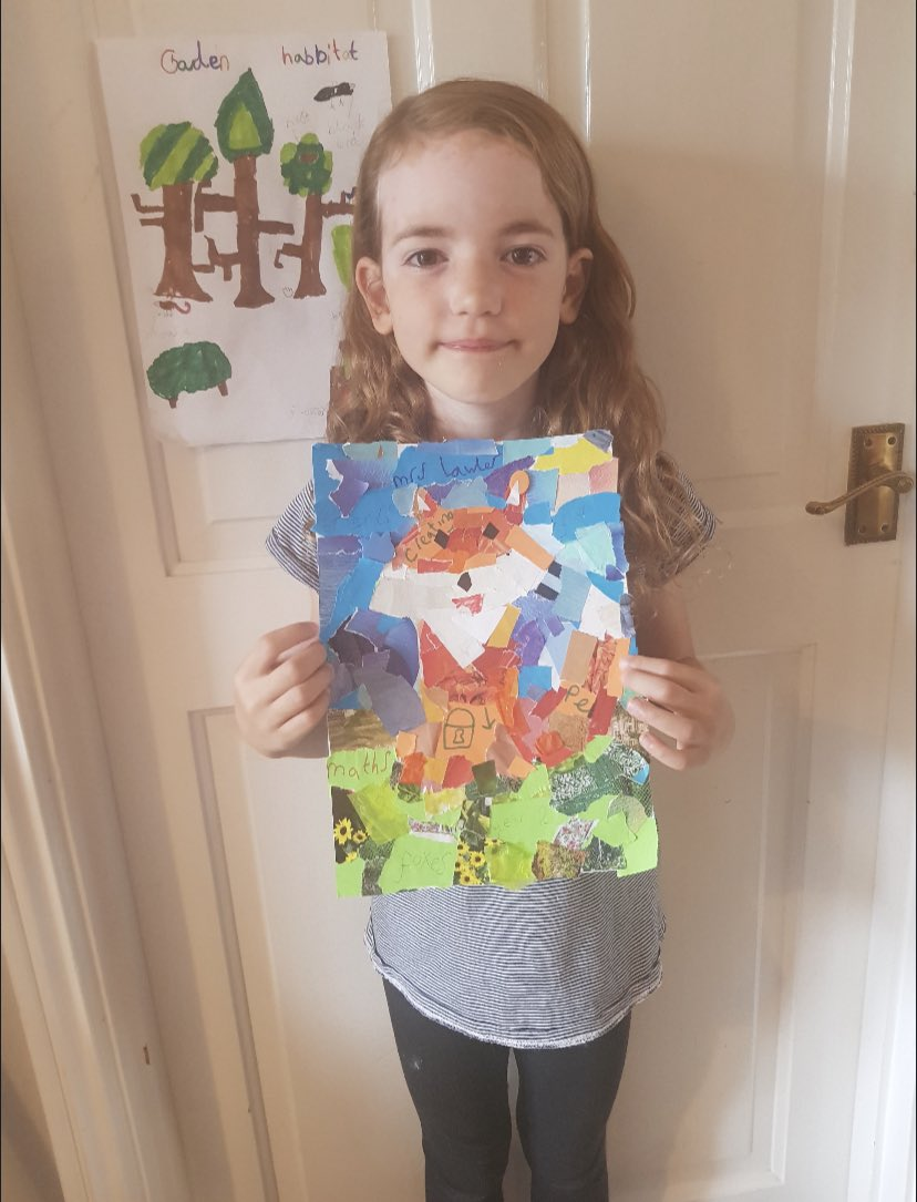 Isabella in Foxes class has created an amazing piece of artwork. A collage of her time in lockdown. #homelearning pic.twitter.com/zcFFMvBPAA