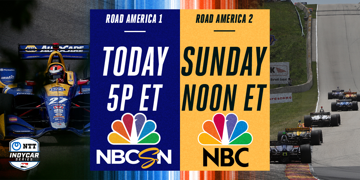 .@IndyCar at a track so nice, were doing it twice. @RoadAmerica is today at 5PM ET on NBCSN, then Sunday at Noon ET on @NBC!