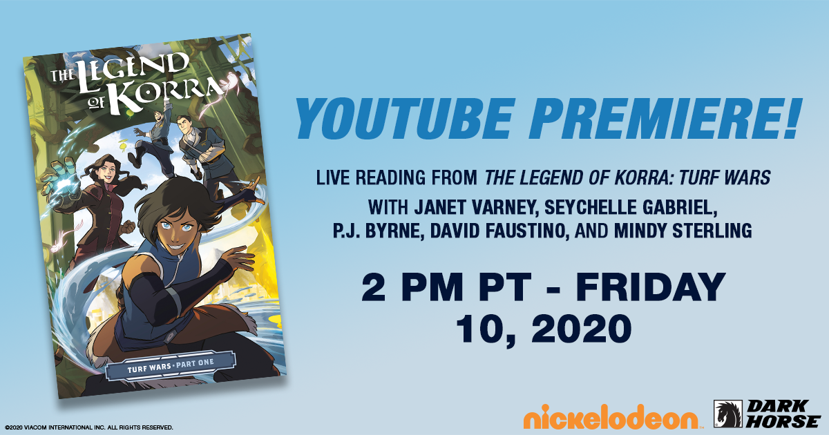 The Legend of Korra: Turf Wars live table read video w/closed captions premieres on YouTube at 12pm PT TODAY, July 10! Tweet along live with #korraliveread: https://youtu.be/JlrmZEt7rT4 Feauring @janetvarney @seychellegab @PJ_Byrne @DavidFaustino & @Msmindysterling! @nickelodeonpic.twitter.com/CeBbJDYDpy