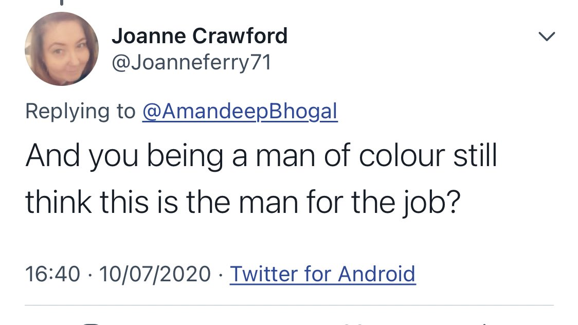 "Proud to be a Conservative Equally proud to #BackBoris What on Earth has the colour of my skin got to do with my politics? And what exactly is a ""man of colour""? The Divisive-Identity-Politics-Left is obsessed with skin colour and race. Toxic."