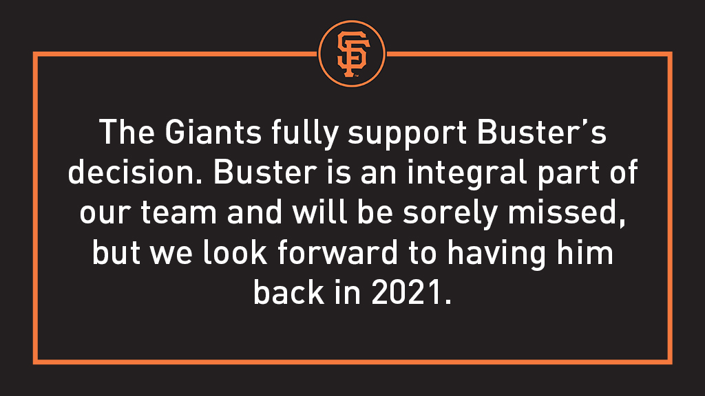 OFFICIAL: Buster Posey has opted out of the 2020 season. #SFGiants
