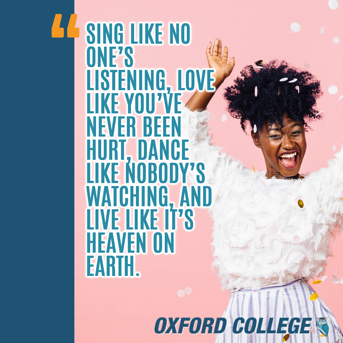 Happy Friday!   Don't forget to sing, dance and love today .  #FridayFunday #OxfordCollege #OxfordEdu #quote #quoteoftheday #smile #lovepic.twitter.com/pIHYOW2dRh
