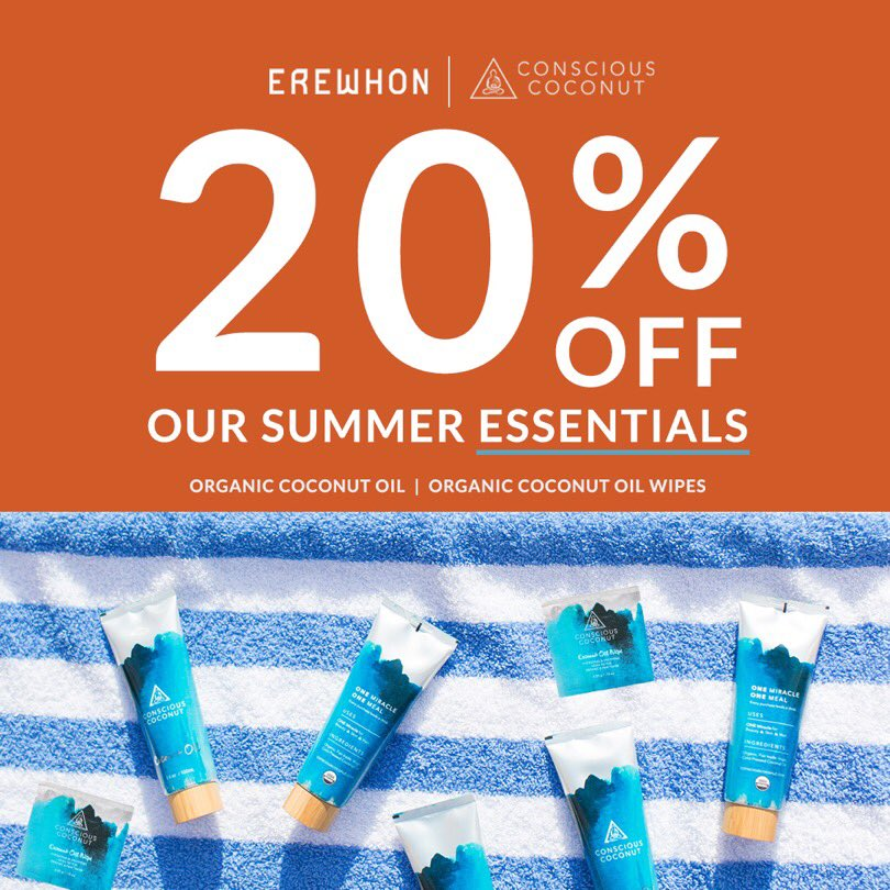 Hey #California - headed to @ErewhonMarket? Shop our summer essentials 20% OFF in stores on your next grocery trip 🥥✨ Our organic, fair trade certified coconut oil has your back to soothe, hydrate and glow this summer! https://t.co/uRjHXpLwLp