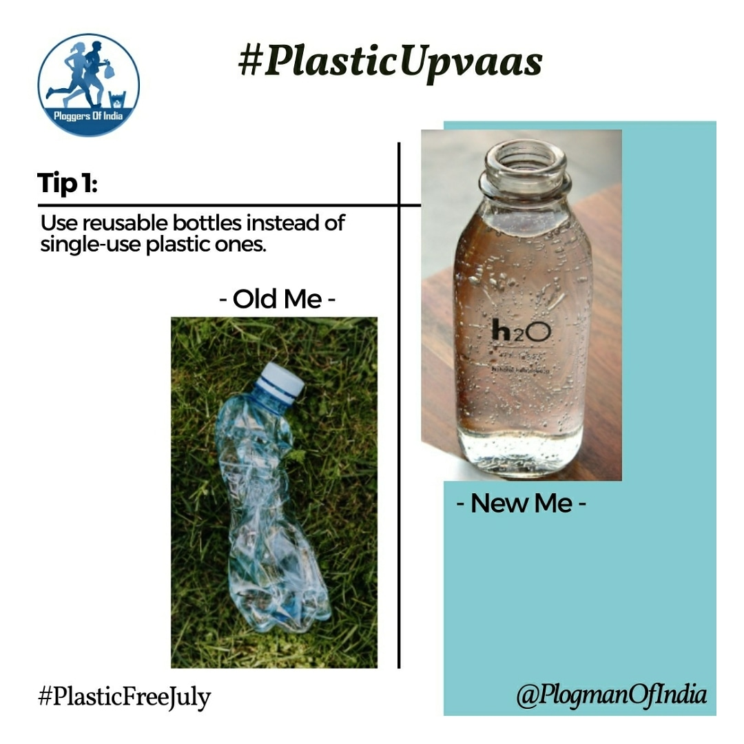 #PlasticUpvaas Tip#1  Switch to reusable bottles instead of #singleuseplastic #ForNature and your own health @narendramodi @moefcc @UNEP @UNinIndia @UNDP_India @dczerowaste @PlasticFreeJuly  #PlaaticFreeJuly https://t.co/vBmC9NaTqG