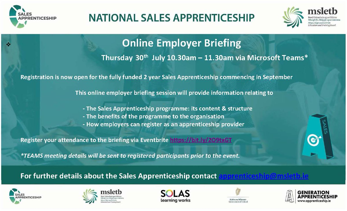 Did you know there was a Sales Apprenticeship? Your business may benefit from this scheme. Real life learning, skills and recognised QQI Level 6 cert. Think beyond trade apprenticeships. #GenerationApprenticeship https://t.co/vmouSsY8lA