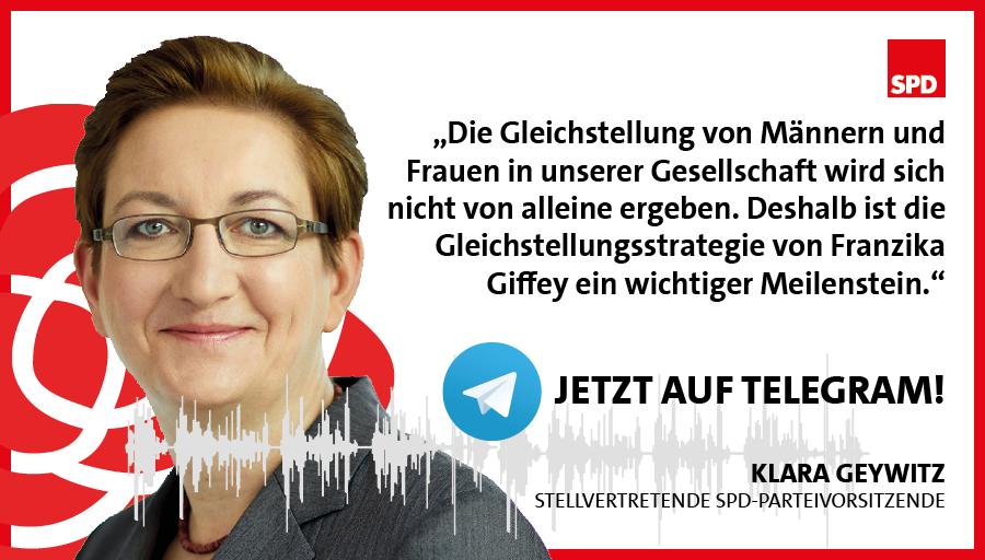 Am Mittwoch hat Franziska Giffey die erste nationale #Gleichstellungsstrategie einer Bundesregierung vorgestellt. Wir haben mit @klara_geywitz darüber gesprochen, warum das ein Meilenstein ist und wie es mit der Frauenquote weiter geht!    Den Talk gibt's drüben bei Telegram. https://t.co/s046CwL0ot