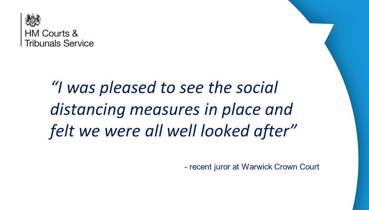 """I was pleased to see the social distancing measures in place"" - feedback from a recent juror at #Warwick Crown Court @JudiciaryUK @MoJGovUK https://t.co/xKnq09dPLN"
