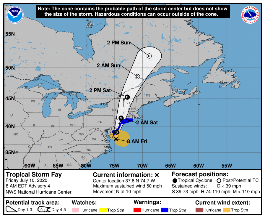 7/10 8AM EDT: A special advisory has been issued to expand the Tropical Storm Warning southward, with tropical storm conditions expected soon over portions of the Delaware coast. More info: https://t.co/tW4KeGdBFb #Fay https://t.co/EaSJUviXlk