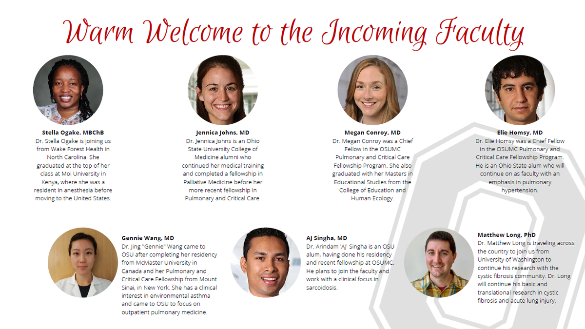 Last week we welcomed 10 new fellows to our Division. Im thrilled that over the next month 7 new faculty joining our ranks in PCCSM! Welcome @OgakeSB @DrMeganConroy @AJSingha88, Matt Long, Jennica Johns, Elie Homsey and Gennie Wang!