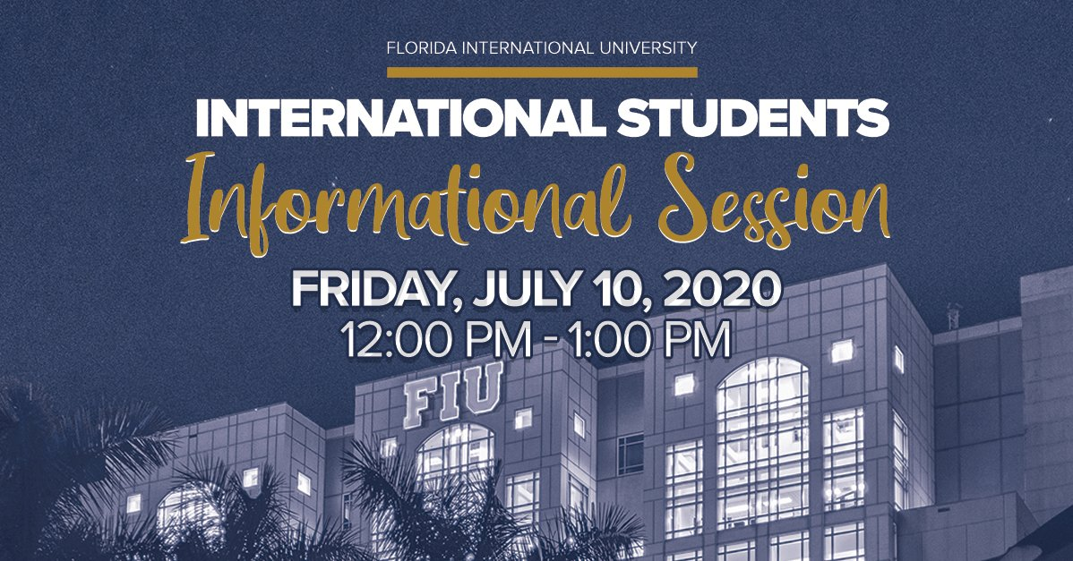 Please join us today at noon for a virtual informational session as we address many of the questions surrounding the Fall 2020 semester for #InternationalStudents. Zoom: go.fiu.edu/intlstudents Facebook Live: facebook.com/floridainterna…