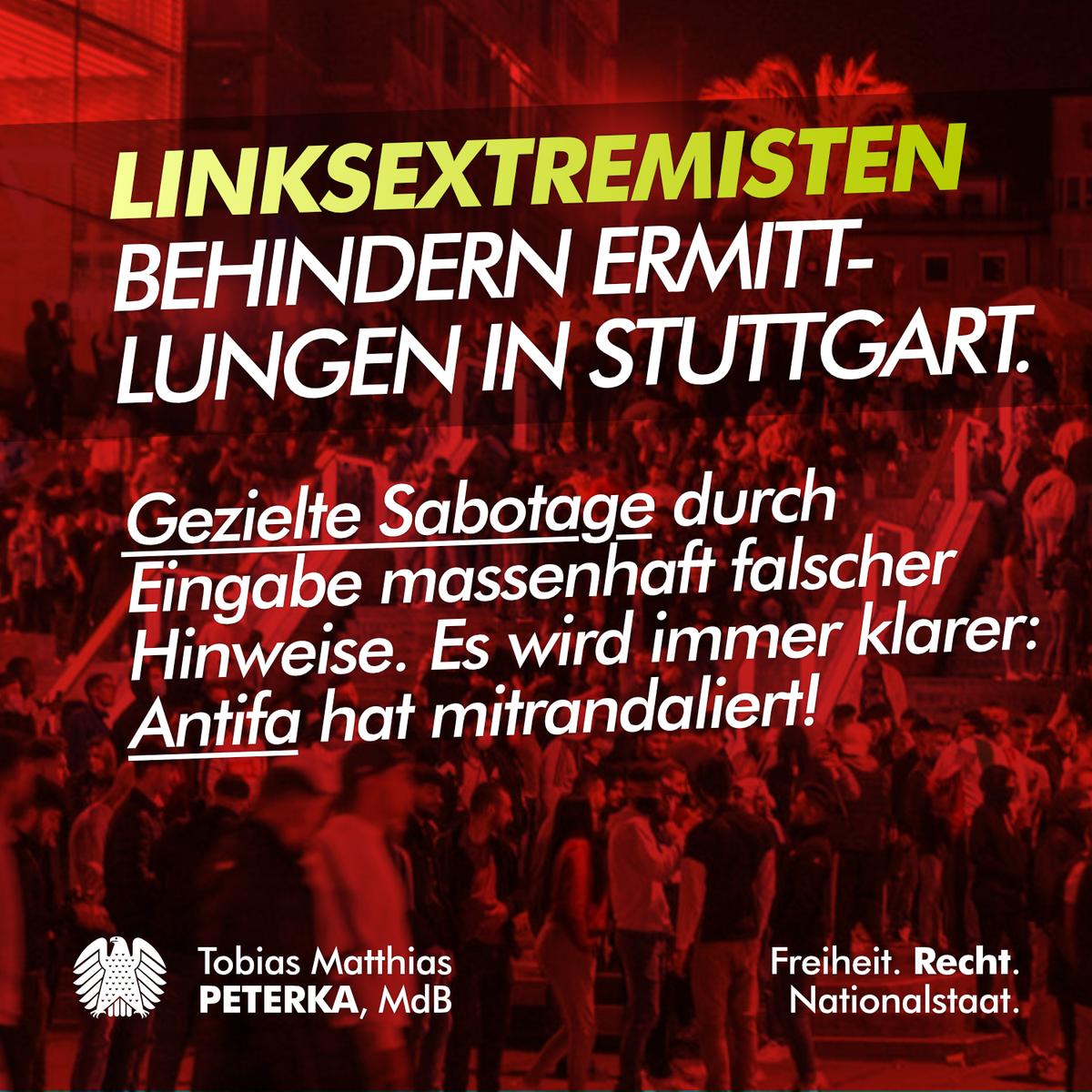 #Antifa-#Linksextremisten sabotieren Ermittlungen der #Polizei zur #StuttgarterKrawallnacht (#StuttgartRiots) - Es wird immer klarer, wer hier mitrandaliert hat. / Q: https://t.co/7WIbtYmUUF https://t.co/9Qj5y5GTJV