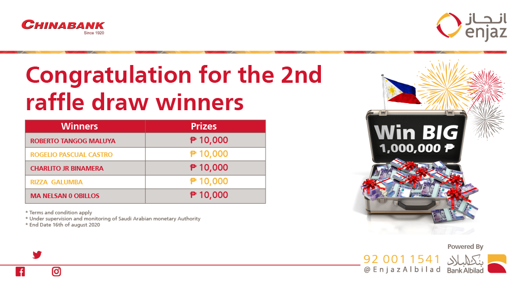 Congratulations to the 2nd raffle draw winners in Enjaz and CHINABANK promotion 😍🎉  Stay tuned for the 3rd raffle draw winners ⏱ https://t.co/kSFIdTaguY