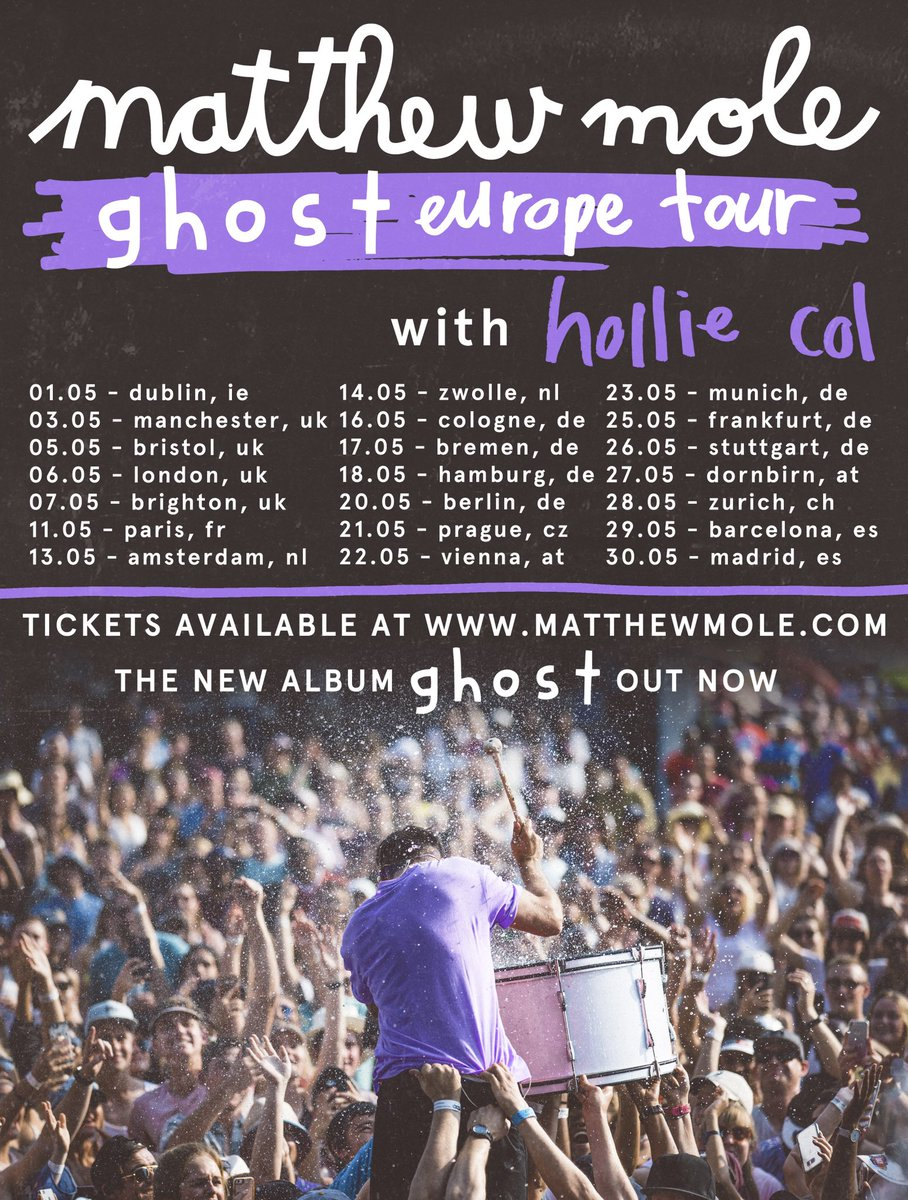 *Ghost Europe Tour NEW DATES* It's no surprise that we had to move this tour, but I'm super excited to see all my friends in 2021 💜 Tix: matthewmole.com/tour *tickets for previous dates will remain valid. If you cant make the new dates, the ticket outlet will refund you.