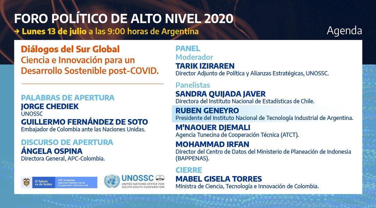 """El próximo lunes 13/7 el presidente del @INTIargentina Ruben Geneyro, participará del side event en el marco del """"Foro político de alto nivel 2020"""" para explorar cómo la Cooperación Sur-Sur y Triangular contribuye a promover la Ciencia, Tecnología e Innovación en el Sur Global. https://t.co/wk05EARCTk"""