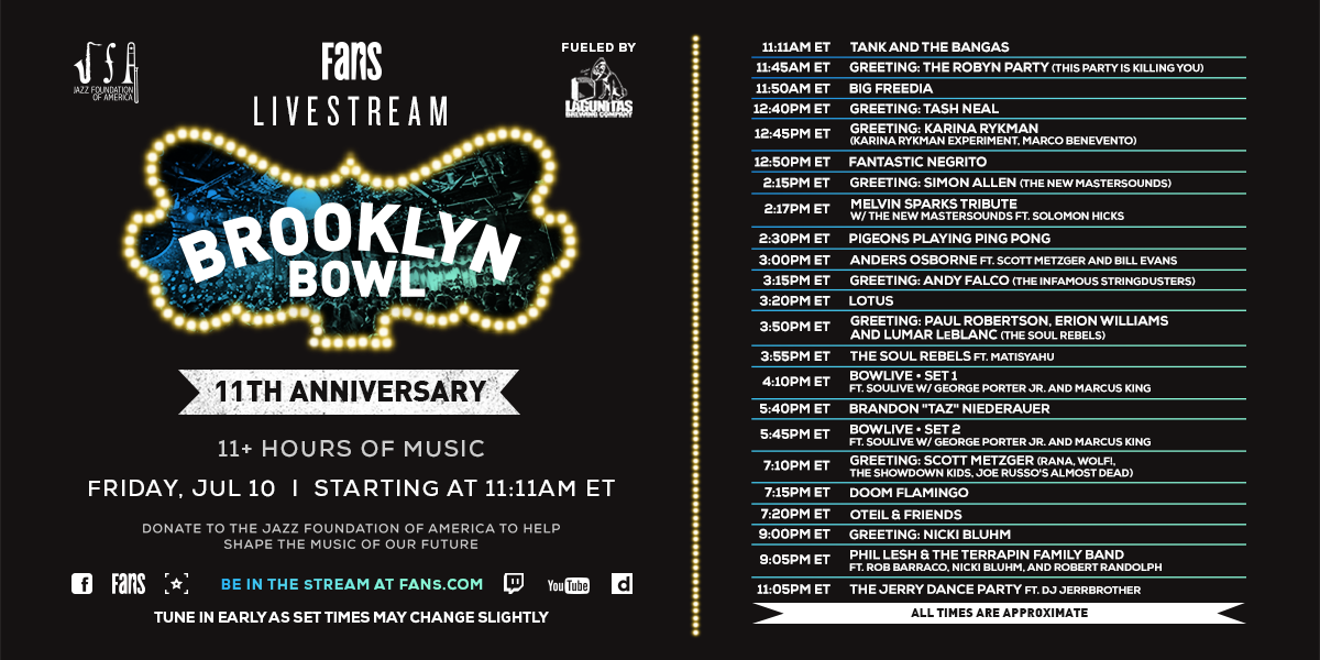 #TODAY! Get ready to party all day w/ @brooklynbowl's 11th Anniversary Livestream, Fueled By @lagunitasbeer, ft. 11+ hours of archival sets + more! Support the music of our future by donating to @JazzFoundation, only on FANS-->> https://t.co/CrZCJ6lSEY https://t.co/RPEjQ5hauy