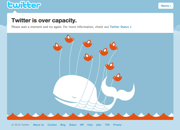 I wasn't able to put a date on the screenshot of the fail whale. It was removed for good in 2013, but based on the design, I assume it's from before 2010. <br>http://pic.twitter.com/ObC5okacH1