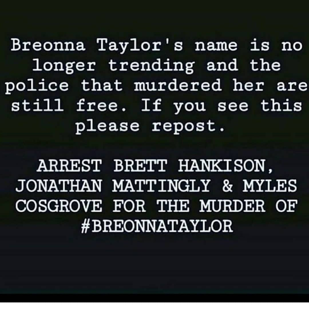 🗣 #theshowmustbepaused #enoughisenough #wenotdoneyet What if it was one of YOUR love one's? #BREONNATAYLOR✊🏾 Keep fighting for her, keep saying her name. Call, email, post, protest, harass our elected officials. DO SOMETHING. #keepsayinghername Breonna Taylor #HERlifemattered https://t.co/3QlR0oSrQX